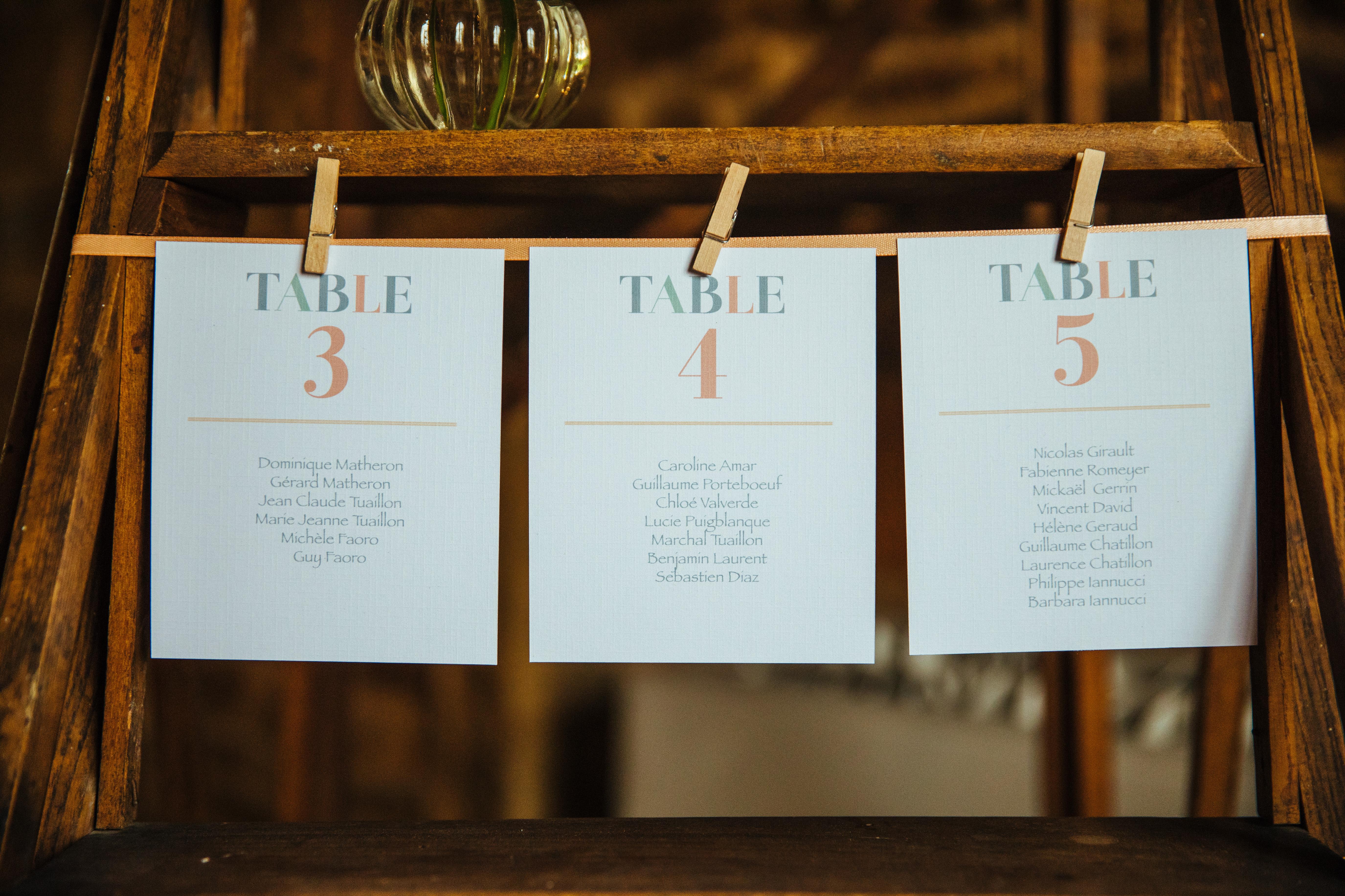 décoration de mariage orange - plan de table - escabeau - carterie sur-mesure