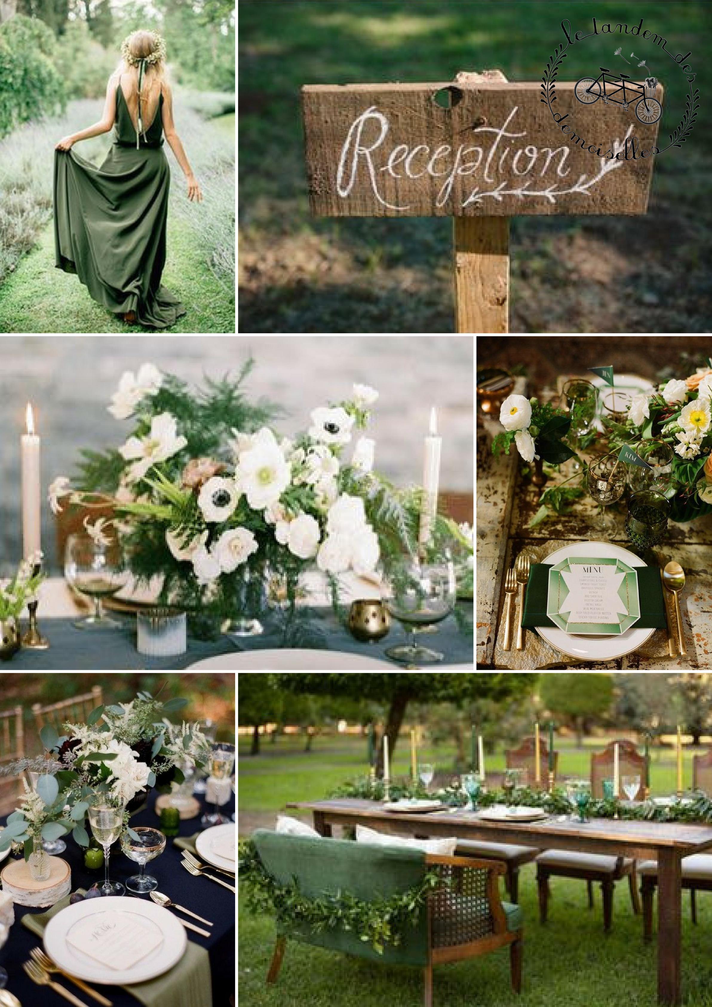 décoration vert et doré - moodboard mariage vert et doré