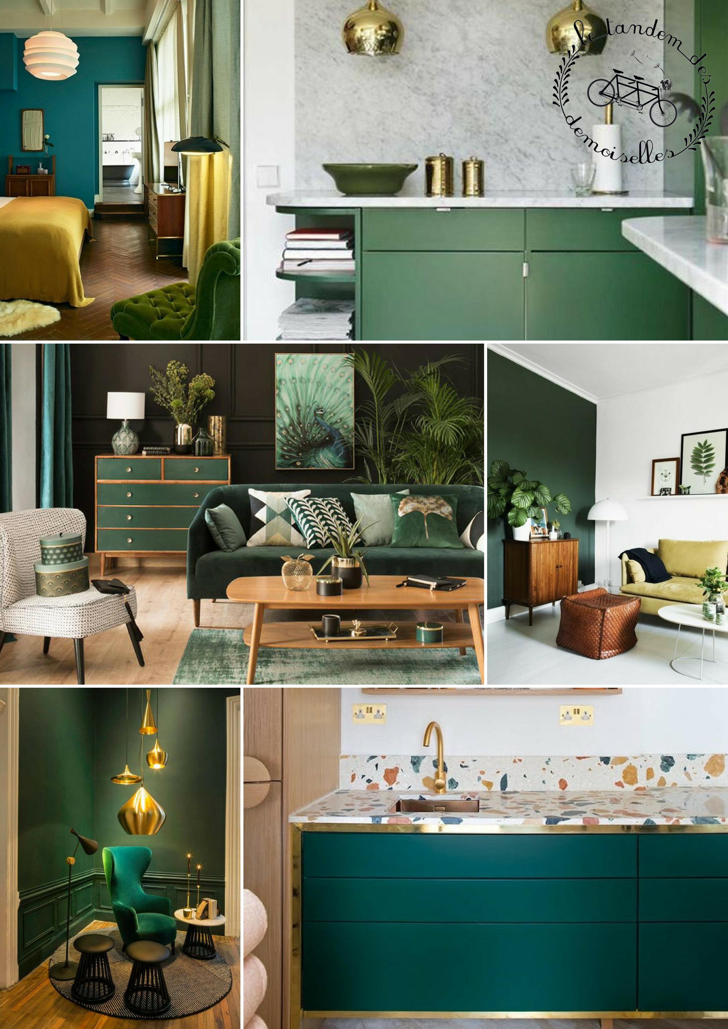 décoration vert et doré - moodboard tendance 2018 - vert et doré