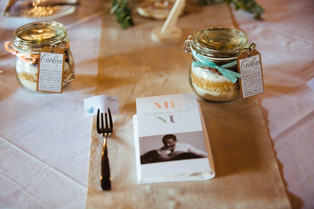 décoration de table de mariage, menu