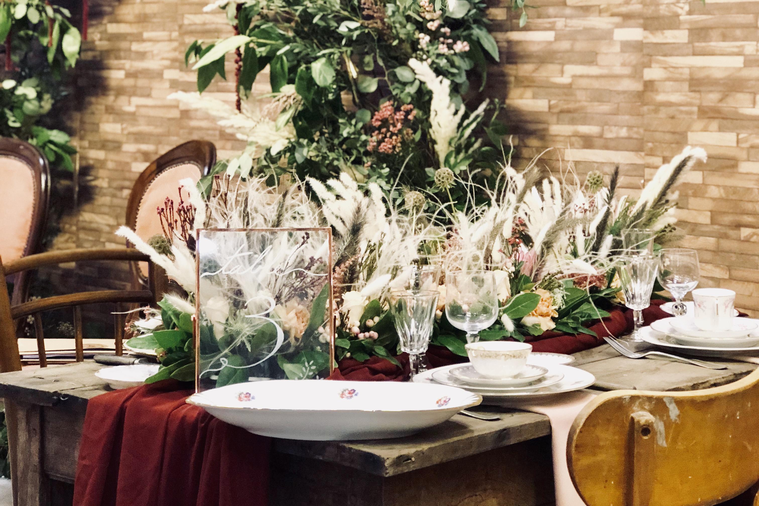 pampa et fleurs séchées en centre de table